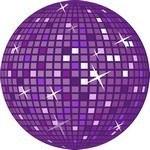 Purple Retro Disco Ball Vector Art